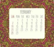 February 2016 monthly calendar Stock Photos