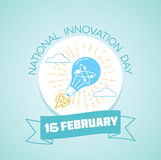 16 February  National Innovation Day. Calendar for each day on February 16. Greeting card. Holiday - National Innovation Day. Icon in the linear style Stock Images