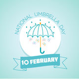 10 February National Umbrella Day. Calendar for each day on February 10. Greeting card. Holiday - National Umbrella Day. Icon in the linear style stock illustration