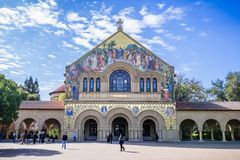 People visiting the Memorial Church at Stanford and the Main Quad Royalty Free Stock Photo