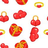 14 February pattern, cartoon style. 14 February pattern. Cartoon illustration of 14 february vector pattern for web Stock Photography