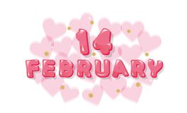 February 14 pink glossy letters. Valentines card with transpatent hearts and glitter polka dots. Vector Stock Illustration