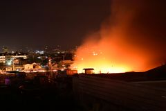 February 20 2018 7:20pm Fire in Pasig Philippines. A massive fire in Rosario Pasig Philippines that burned a warehouse and houses during the night royalty free stock image