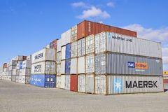 FEBRUARY, PORTO- APRIL 05, 2013: Container boxes, Cargo freight ship. Export import industry Stock Photos