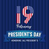 19 february, Presidents day lettering greeting card. Happy President`s Day 19th february for web banner. Vector illustration Royalty Free Stock Photography