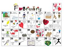 February 2020 Quirky Holidays and Unusual Celebrations Calendar. February 2020 calendar illustrated with daily Quirky Holidays and Unusual Celebrations royalty free illustration