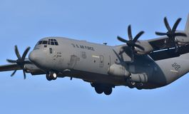 Air Force C-130 Hercules. February 16, 2018; Ramstein, Germany: A U.S. Air Force C-130 Hercules cargo plane operated by the 86th Airlift Wing out of Ramstein Air Stock Image