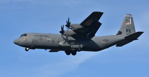 Air Force C-130 Hercules. February 16, 2018; Ramstein, Germany: A U.S. Air Force C-130 Hercules cargo plane operated by the 86th Airlift Wing out of Ramstein Air Royalty Free Stock Photo