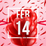 14 February and Red Heart Balloons.Love and Valentine`s Day. Concept.Vector illustration EPS 10 stock illustration