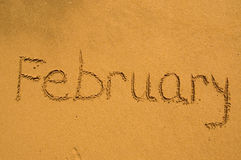 February  in the sand. Month February in the sand Royalty Free Stock Photos