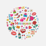 February set  in circle. 14 February set  in the form of a circle.With shadow,isolated on a white background.Hand Drawn.Scrapbook.Sticker.With letter,perfume Stock Image