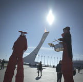 Clowns entertain the guests of the World Winter Olympic Games 2014 Stock Photography