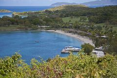 The bay and beach at Hawkes Nest stock image
