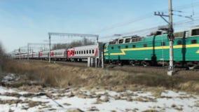 Railway Express time lapse tilt film. February  28, 2018 St. Petersburg, Russian Railways, Passenger Express time lapse tilt film stock video