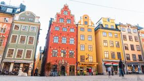 15 February 2020,Stockholm, Sweden.Old town.Colorful houses on Stortorget square