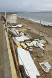 February 14 Storm Damage 2014, concrete beach huts damaged, Milf Royalty Free Stock Photography