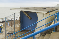 February 14 Storm Damage 2014, concrete beach huts damaged, Milf Royalty Free Stock Image