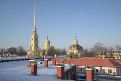 February sunny day over the roofs of the Peter and Paul fortress. St. Petersburg Royalty Free Stock Photo