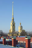 February sunny day over the roofs of the Peter and Paul fortress. St. Petersburg Royalty Free Stock Images