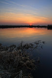 February sunset. A sunset on a lake in winter Royalty Free Stock Image