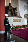Honor guard with rifle and bayonet in front of statue of Sun Yat Sen at Sun Yat-Sen memorial hall in Taipei Taiwan. 12 February 2018, Taipei Taiwan: Honor guard stock photo