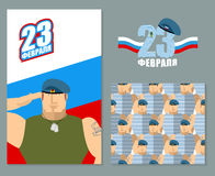 23 February template set for your design. Day of defenders of fa. Therland. Flag of Russia and blue berets. Logo for patriotic celebration of Russian armed Royalty Free Stock Photography