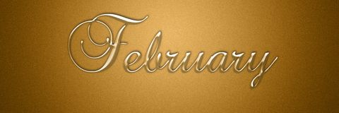 February text title for month background design. For wallpaper use stock illustration