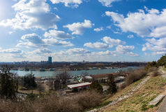February 25th 2017 - Belgrade, Serbia - The confluence of Danube and Sava rivers in Belgrade, Serbia, as seen from the Kalemegdan Royalty Free Stock Image