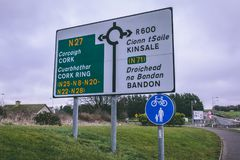Road signs outside the airport of Cork in Ireland. February 10th, 2018, Cork, Ireland - Cork International Airport: road signs outside the airport royalty free stock images