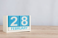 February 28th. Cube calendar for february 28 on wooden surface with empty space For text. Not Leap year or intercalary Stock Photo