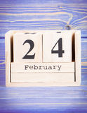 February 24th. Date of 24 February on wooden cube calendar Stock Images