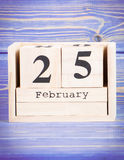 February 25th. Date of 25 February on wooden cube calendar Royalty Free Stock Photography