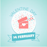 14 February valentine day. Calendar for each day on February 14. Greeting card. Holiday - valentine day. Icon in the linear style vector illustration