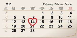 February 14, 2018 Valentine Day. Calendar reminder heart shape. Vector illustration Royalty Free Stock Photography