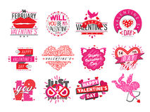 14 february Valentine Day love badges vector illustration. Vector illustration of happy valentines day typography lettering logo set. Hipster emblems, label Stock Illustration