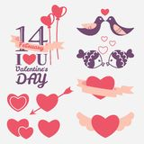 14 February Valentine's day design elements. Set Royalty Free Stock Photo