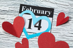 February 14, Valentine's day, heart from red paper Stock Photos