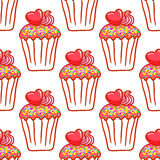 February 14, Valentines Day Breakfast seamless pattern. Chocolate cupcake with confetti and heart on top Stock Photography