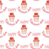 February 14, Valentines Day Breakfast seamless pattern. Chocolate cupcake with confetti and heart on top Stock Image