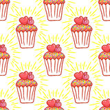 February 14, Valentines Day Breakfast seamless pattern. Chocolate cupcake with confetti and heart on top Royalty Free Stock Photos
