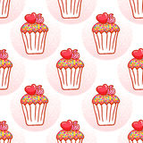 February 14, Valentines Day Breakfast seamless pattern. Chocolate cupcake with confetti and heart on top Stock Photos