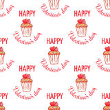 February 14, Valentines Day Breakfast seamless pattern. Chocolate cupcake with confetti and heart on top Royalty Free Stock Images