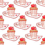 February 14, Valentines Day Breakfast seamless pattern. Chocolate cupcake with confetti and heart on top Royalty Free Stock Image
