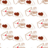 February 14, Valentines Day Breakfast seamless pattern Stock Image
