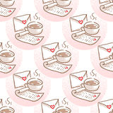 February 14, Valentines Day Breakfast seamless pattern Stock Photography