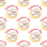 February 14, Valentines Day Breakfast seamless pattern Royalty Free Stock Photography