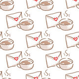 February 14, Valentines Day Breakfast seamless pattern Stock Photo