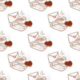 February 14, Valentines Day Breakfast seamless pattern Royalty Free Stock Image