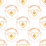 February 14, Valentines Day Breakfast seamless pattern. Heart-Shaped Fried egg Royalty Free Stock Photography