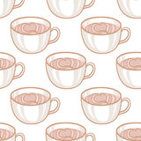 February 14, Valentines Day Breakfast seamless pattern. Latte Art Heart, cup of hot coffee Royalty Free Stock Photography